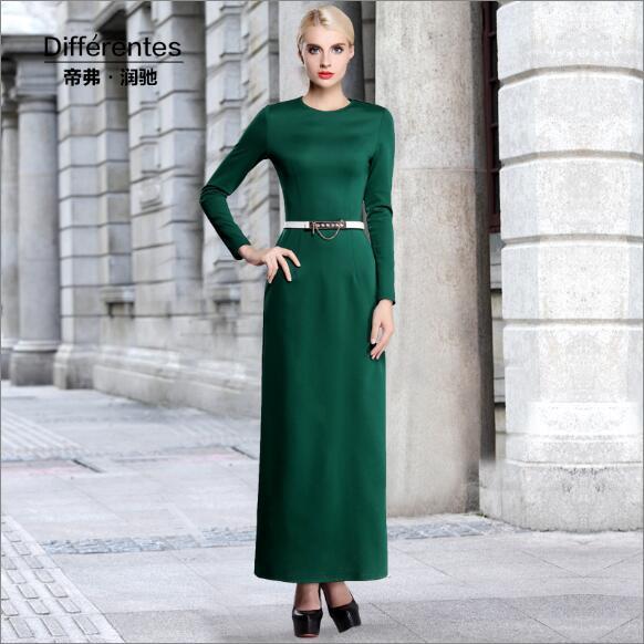2016 New Fashion Spring Korean Dress Slim Thin Dark Green Fashion Dress Large Size Women o-Neck Ankle Length Long Dress A80266(China (Mainland))