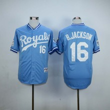 #16 Bo Jackson Royals Jersey White Home Blue Alternate Cream Stitched B.Jackson KC Kansas City Royals Throwback Baseball Jerseys(China (Mainland))