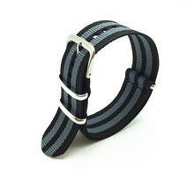 18 22 24mm Black/Grey Striped Nato Strap for Army Sport Watch Nylon Watchband(China (Mainland))