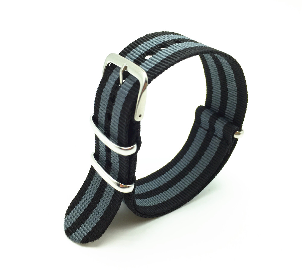 22mm Black/Grey Striped Nato Strap for Army Sport Watch Nylon Watchband <br><br>Aliexpress