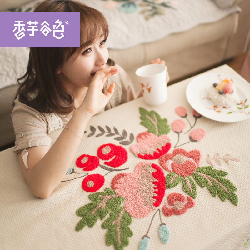 Rustic Chinese Brand Embroidered Flowers Round Tablecloth Cotton Rectangle Tablecloth Home Use Tablecloth(China (Mainland))
