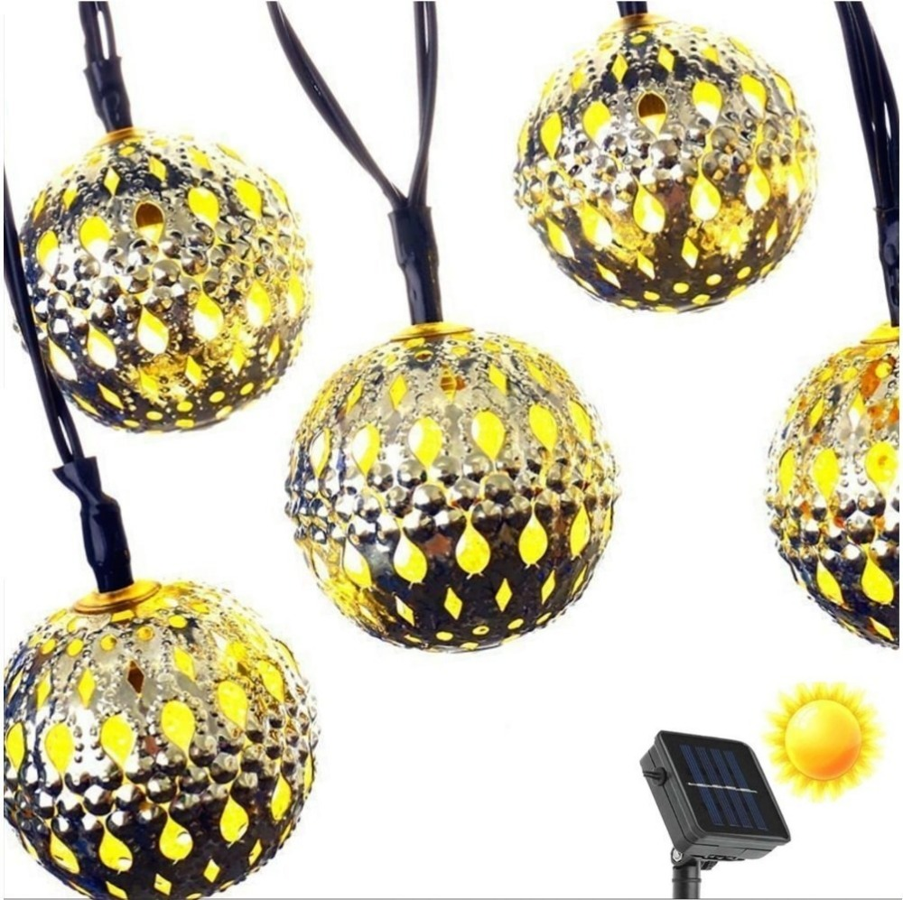 30LED Solar Gold Moroccan LED Globe Fairy String Lights,Curtain Light for Outdoor,Gardens,Homes,Christmas Party (Warm White)(China (Mainland))