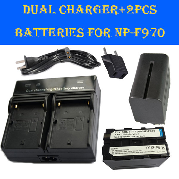New 2pcs NP-F970 NP F970 960 NP-F960 7000mAh Camera Battery + Dual Charger For Sony DCR-TRV110K LED Video Light/ Field Monitor(China (Mainland))