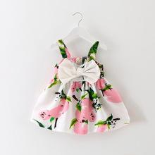 New Baby Girl Dress Lemon Dress for Toddler Girls Summer Baby Clothing vestido infantil Sleeveless Baby Dress Floral Sundress(China (Mainland))