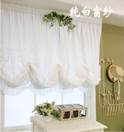 European Screens High grade Adjustable Balloon Curtains For Window Embroidery Yarn Living Room Shade White Curtains for Window(China (Mainland))