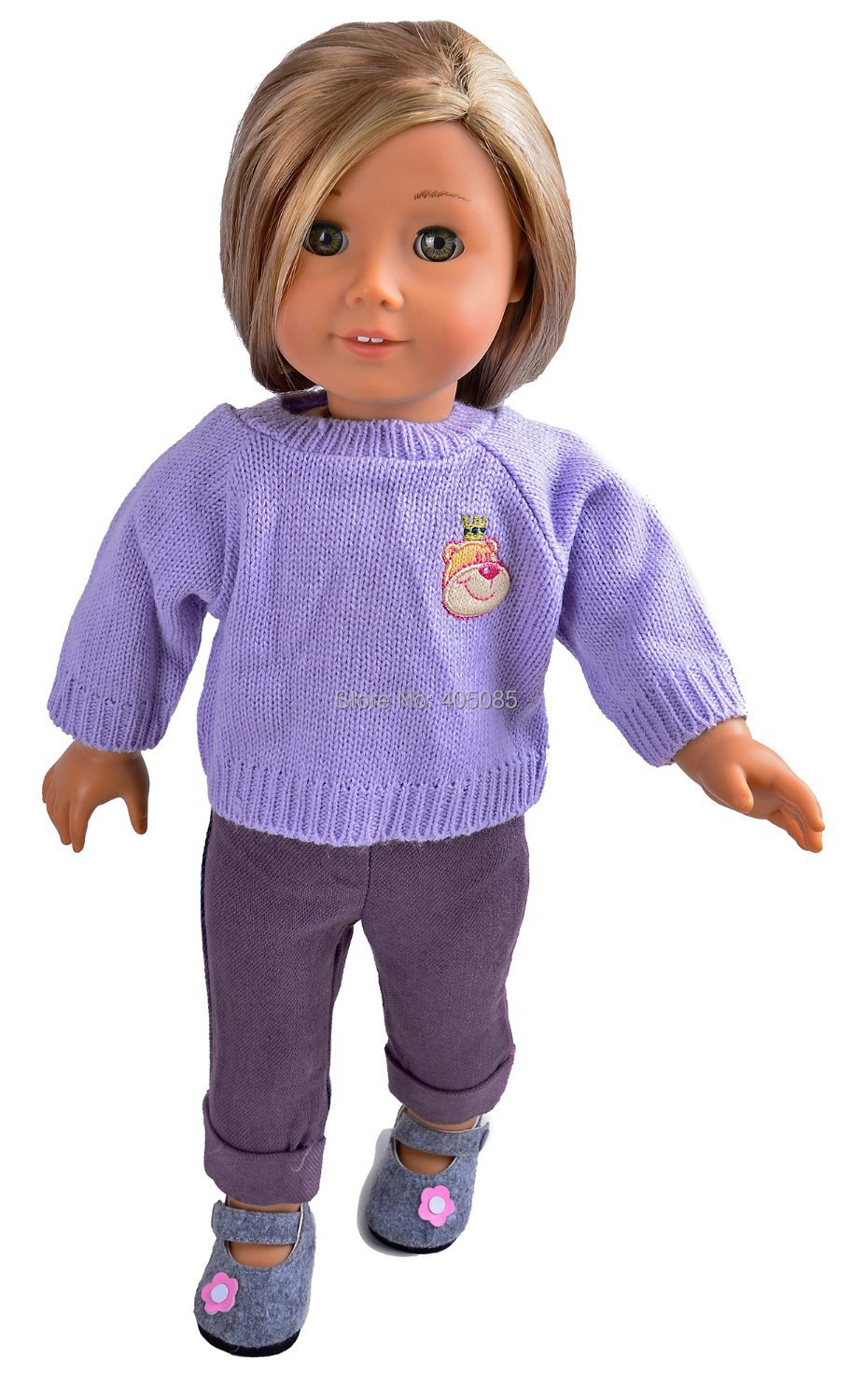 "Wholesales Purple Sweater Top+Jeans Handmade Doll Clothes For 18"" American Girl(China (Mainland))"