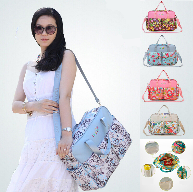Fashion MultiColored Tote Nappy Bags Cross-body Multifunctional Mummy Bags Maternity Shoulder Diaper Bags Dollar Price Baby Bag(China (Mainland))