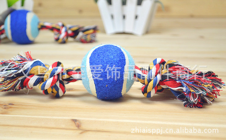 Tennis ball weight 120 grams double rope knot cotton rope toy dog toy pet toys(China (Mainland))