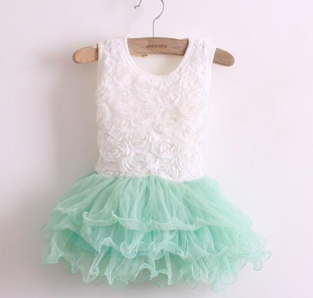 new arrival Korean children's clothing wholesale Girls petals spell yarn fluffy vest dress kids rose flower gauze dresses