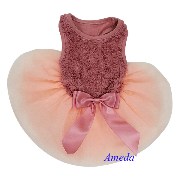 Tea Rose Rosettes Elegant Wedding Pageant Tutu Dog Pet Clothes Party Dress XS-L(Hong Kong)