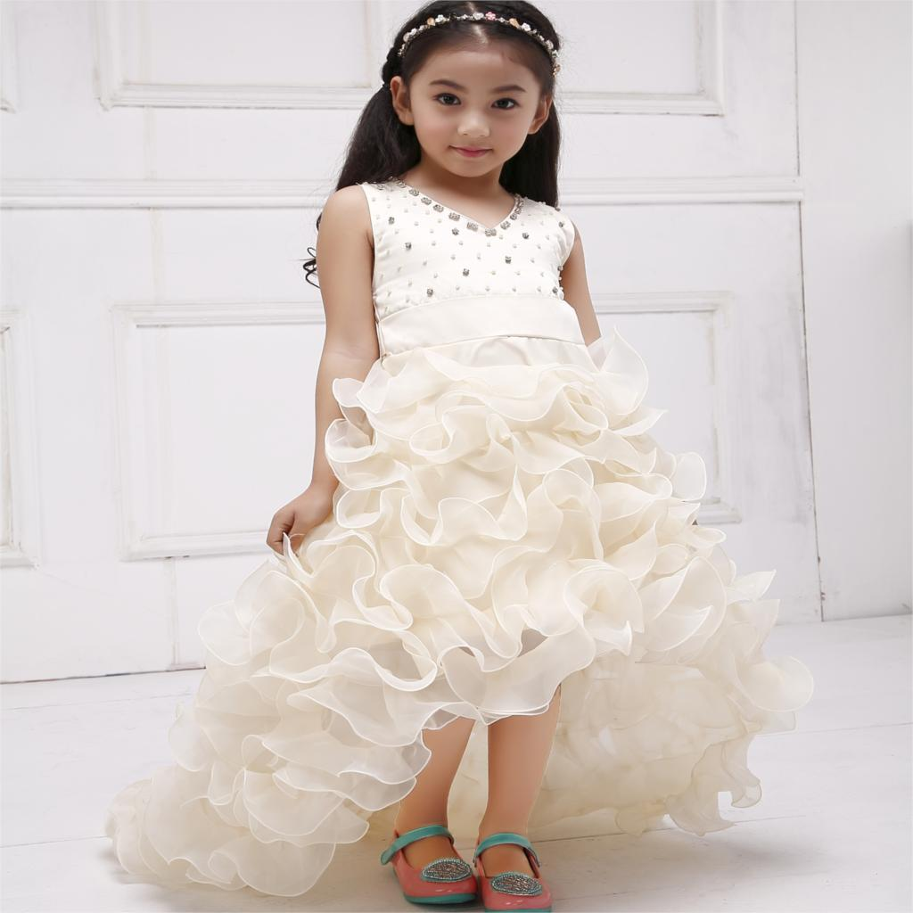 Girls Champagne And White Dress Solid Flower Girl Dress for Wedding, Trailing Short Front Long Back Formal Party Dress SKF154024<br><br>Aliexpress