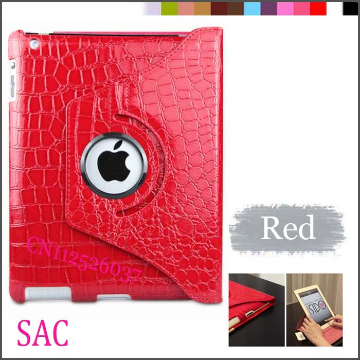 360 Degree Rotating Crocodile Faux Leather Stand Smart Case Cover for New iPad 4/ 3/ 2 3pcs/sets for 1case+1 pen +1 Protector