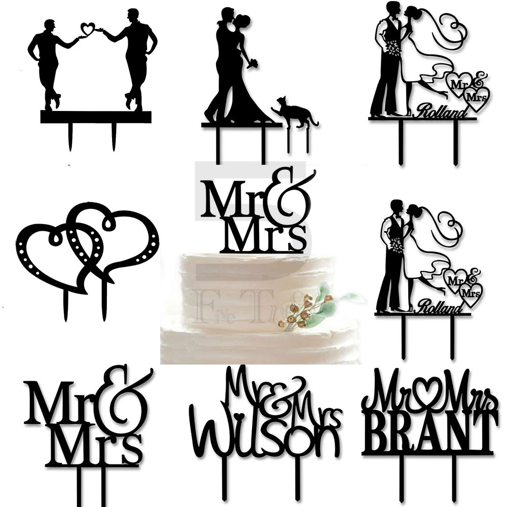 1pcs/lot cake topper 28 style Hot Mr Love Mrs Cake Decorating Acrylic Wedding decoration Beautifully small plug free shopping(China (Mainland))
