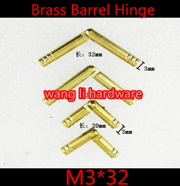 Durable 20pcs M3*32mm 3mm Brass Barrel Hinge Round Cylindrical Hidden Cabinet Hinges Concealed Invisible Mortise Mount Hinge(China (Mainland))