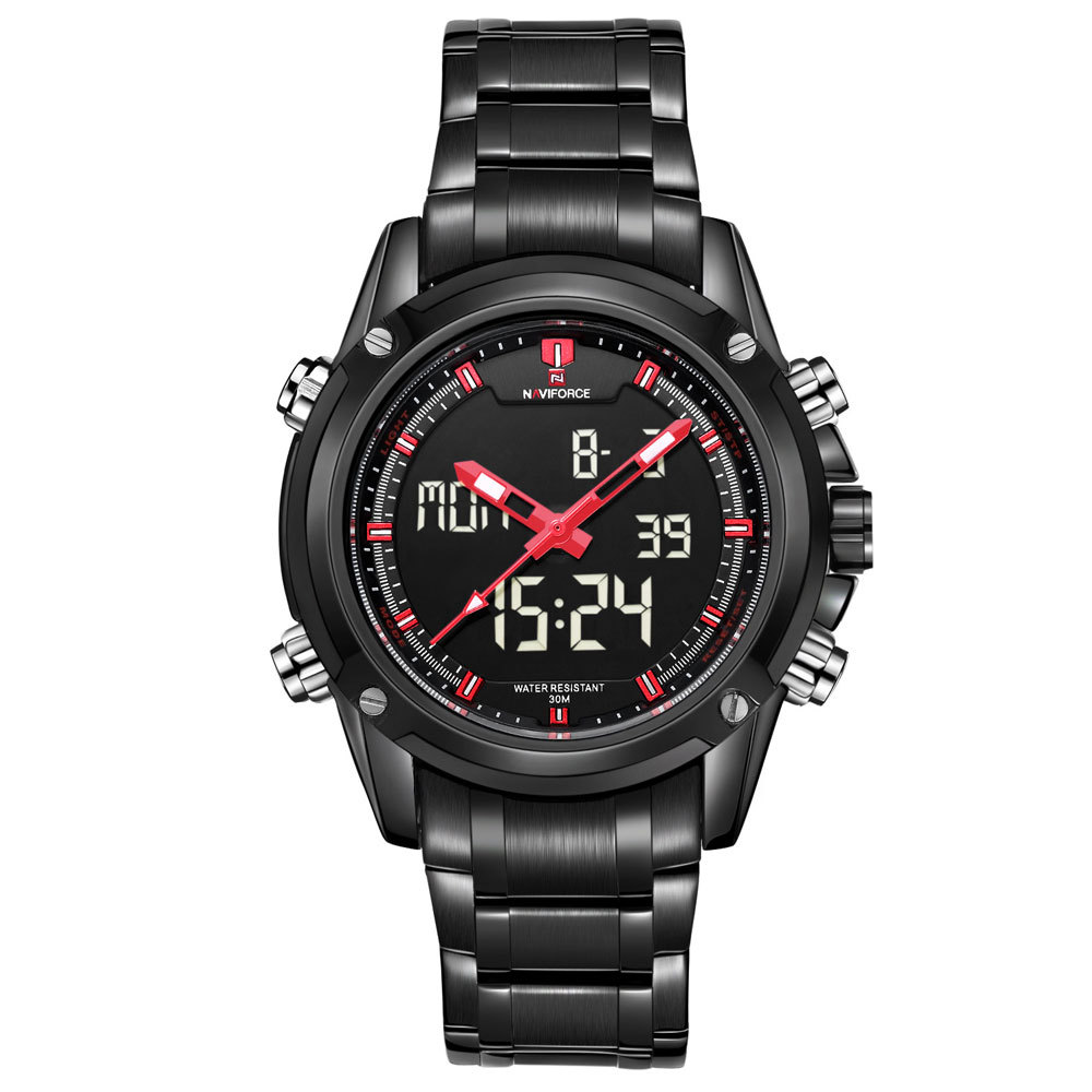 2015 Men's Casual Sport Watch Naviforce Brand Stainless Steel Band LED Digital & Quartz Watch Military Wristwatch relojes hombre(China (Mainland))