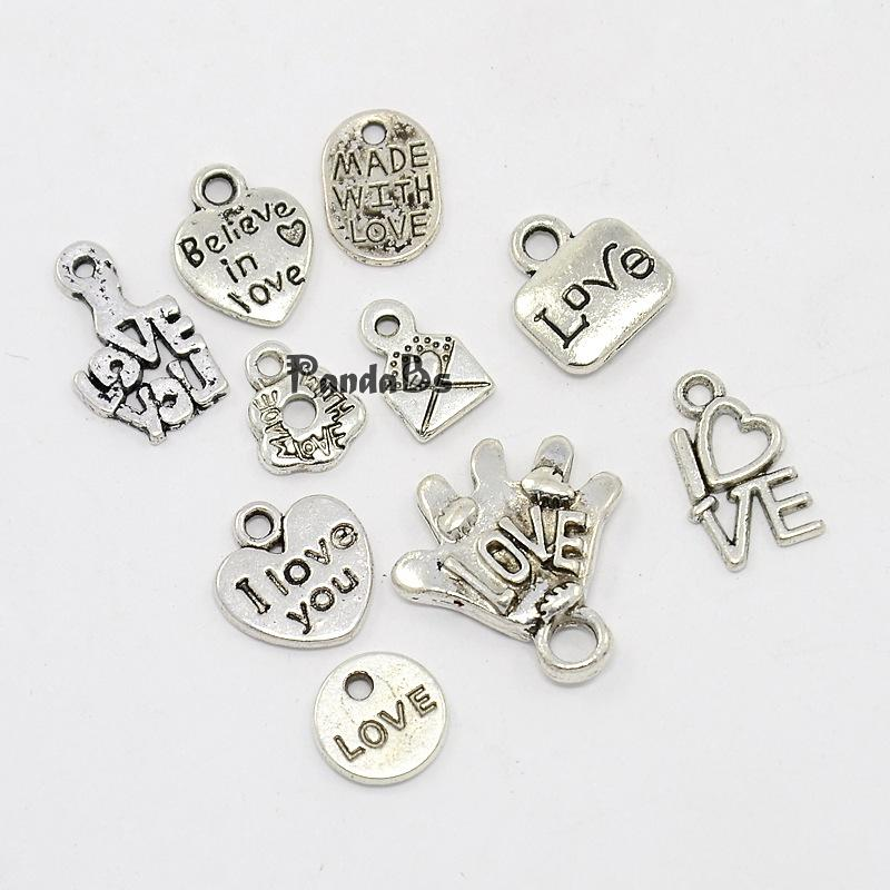Antique Silver Love Items for Valentine's Day Alloy Pendants, Heart, Mail, Palm with Love, Phrase I Love You, Oval with Made(China (Mainland))