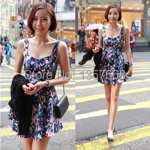 Vestido Estampado Fashion Ladies Female Summer Dress Elegant Mini Floral Dress Women Vestidos Femininos Vestido Floral Curto(China (Mainland))