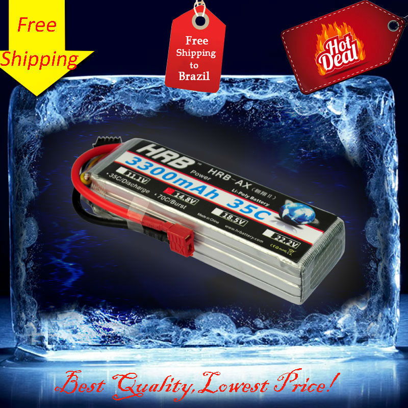 Free Shipping HRB 4s lipo battery 14.8V 3300mah 35C For Quadcopters Helicopters RC Cars Boats High Rate batteria lipo car parts(China (Mainland))