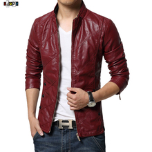 Buy New Fashion PU Leather Jacket Men Black Red Brown Solid Mens Trend Slim Fit Youth Motorcycle Suede Jacket Coat Male for $42.50 in AliExpress store