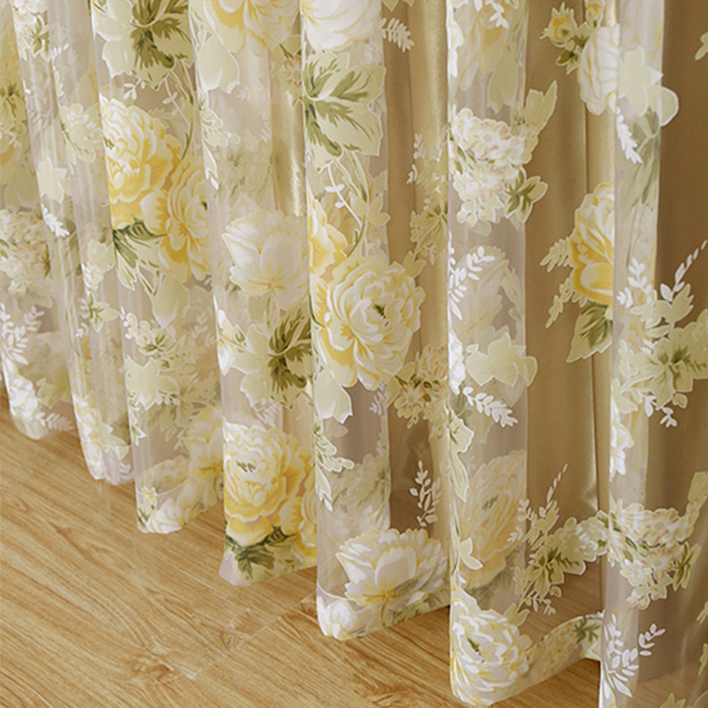 HOT High quality modern rose floral tulle for window curtain sheer Curtains for living room the