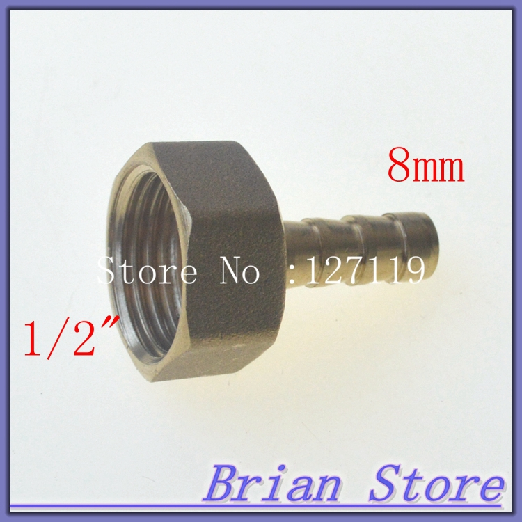 "2 Pieces 8mm Hose Barb x 1/2"" inch Female BSP Length 39.5mm Brass Barbed Fitting Coupler Connector Adapter 232psi(China (Mainland))"
