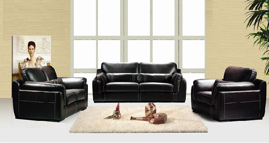 Black Leather Sectional Sofa Corner Sofa LBZ-3871 Modern Living Room Furniture(China (Mainland))