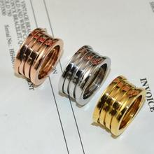 316l titanium stainless steel 3 band spring gear ring men women luxury couple engagement ring male female brand jewelry logo