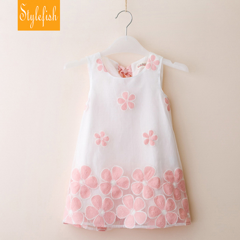 Fashion 2016 summer toddler girls dress children clothing sleeveless flower embroidery lovely girl clothes princess party dress(China (Mainland))