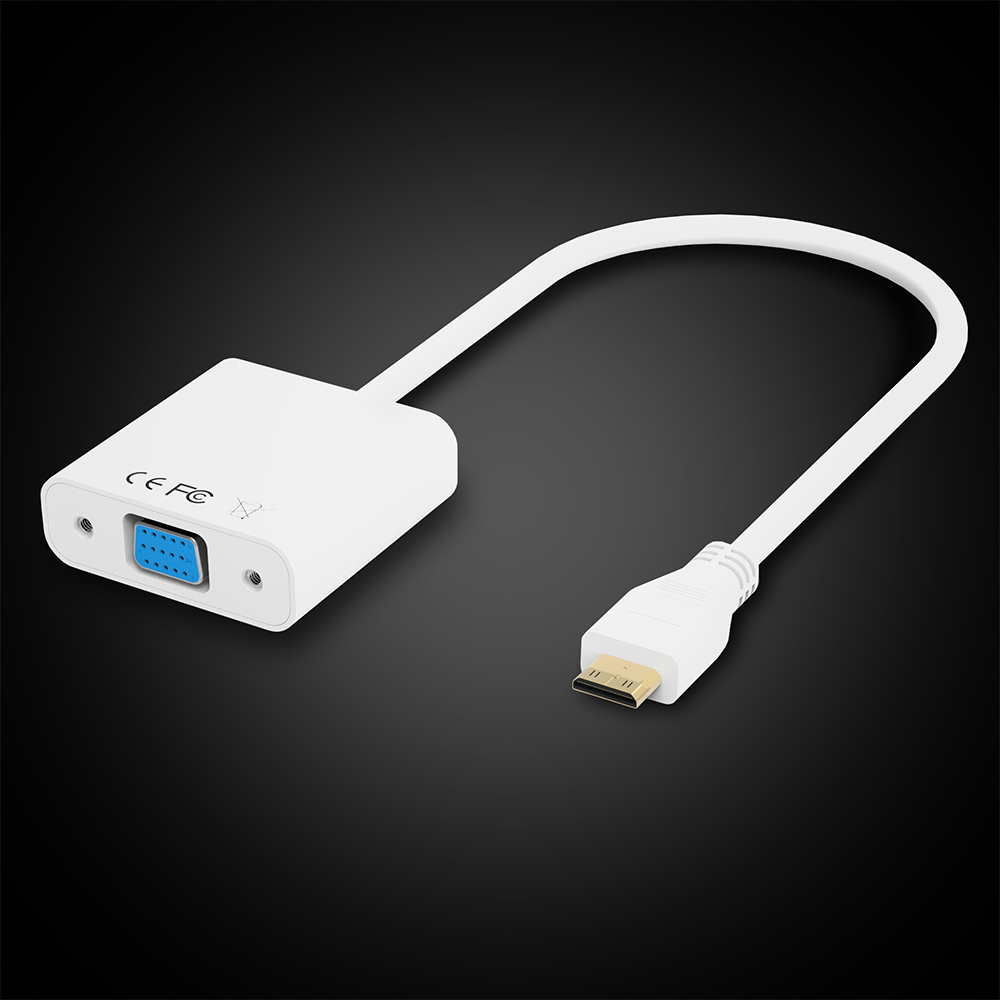 Wholesale and retail High quality white Mini HDMI Male to VGA Cable Adapter 1080P for Tablet PC Laptop,XC1033(China (Mainland))