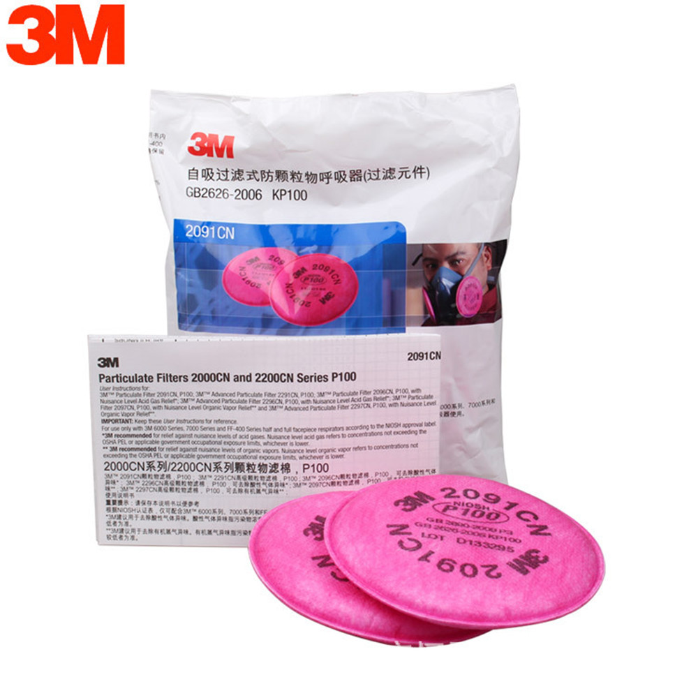 3M 2091 Mask Supporting Cotton Dust Filter P100 Pro Anti Industrial Construction Dust Pollen Haze Poison Gas Filters Set(China (Mainland))