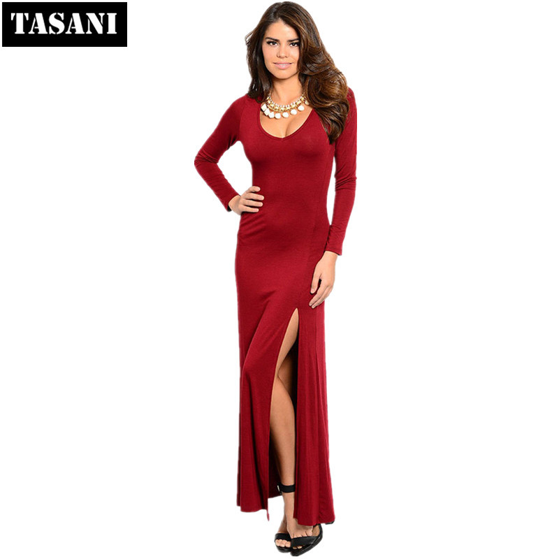 2015 Fashion Women Square Collar Long Sleeves Straight Dresses Elegant Floor-Length Vestidos Female Clothing x8175 - TASANI store