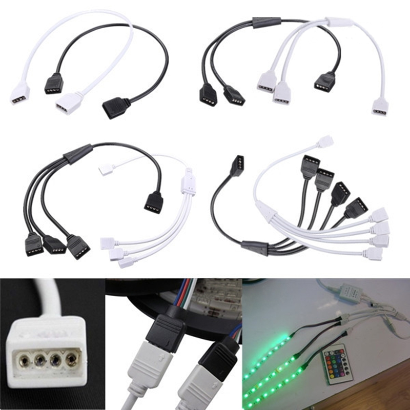 High Quality Female 4 Pin Flexible LED Connector Cable Splitter For RGB 3528 5050 Strip Light Accessories(China (Mainland))