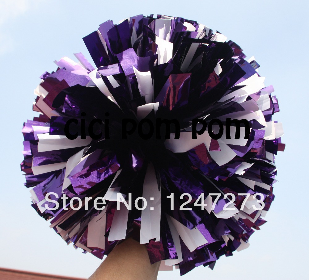 """free fast shipping cheerleader pom pom 1,000*3/4"""" wide streamers*6"""" size metallic purple and plastic white(China (Mainland))"""