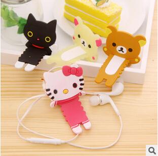Kawaii Gear Edge Rilakkuma Wrap Cable Wire Tidy Earphone Winder Organizer Holder for Headphone MP3,MP4 KCS(China (Mainland))