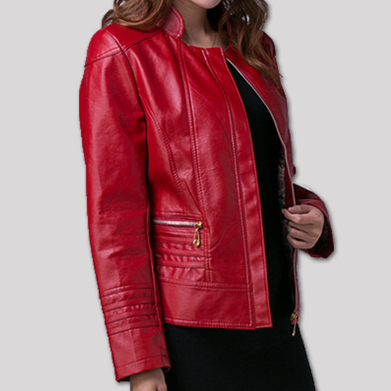 XL-5XL plus size 2015 autumn leather jacket women slim women's PU leather coat short design faux leather jacket clothing A370(China (Mainland))