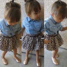 Spring toddler kids baby girls clothing set Shirts + skirt+ Belt 3PCS set autumn Children girls Denim shirt set