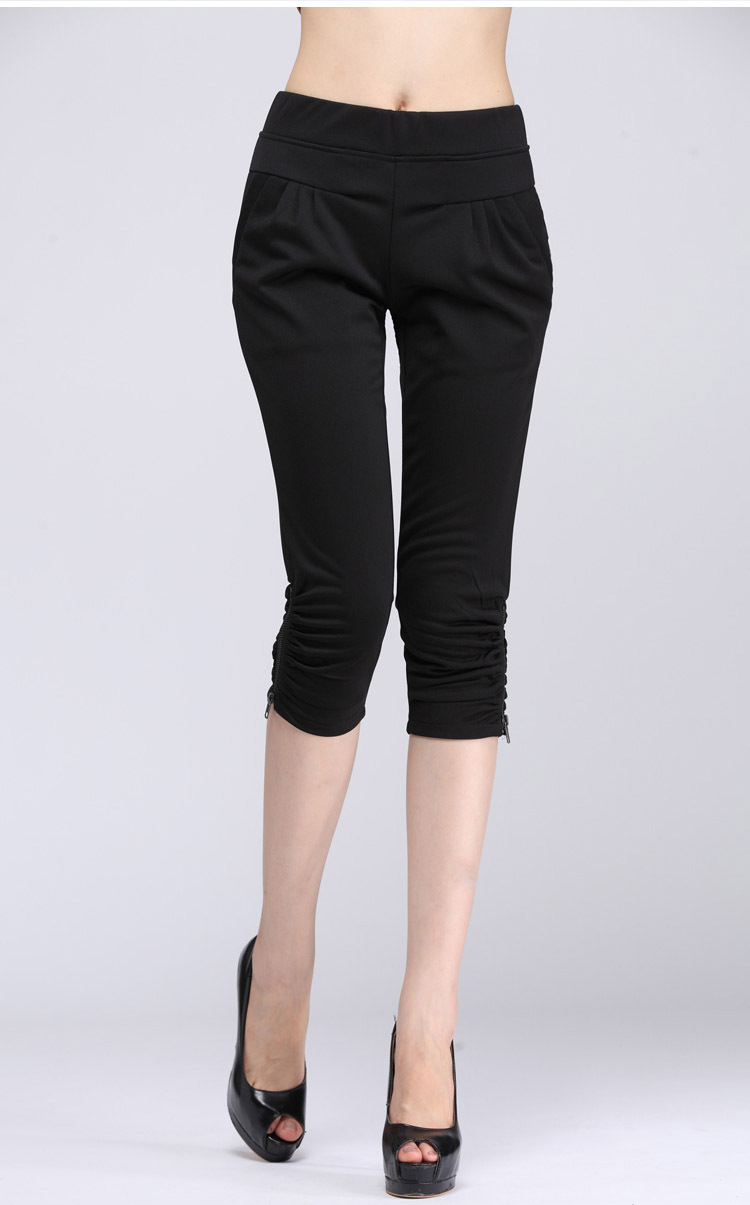 Quinquagenarian women's summer plus size casual elastic high waist knee length trousers S-4XL Large - Armmy zhou's store
