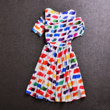 2015 Trend Runway Women A-Line Dress Irregular Shoulder Rainbow Printing 100% Silk Summer Dresses
