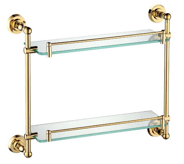 медно-золотистый краска двойного слоя стеклянная полка стеллаж для ванной полке ванной полке GB012c