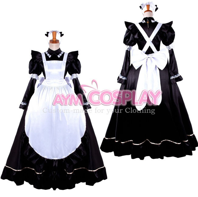 Custom Made Womens Anime Lockable Satin Maid Costume Lolita Uniform Princess Dresses Cosplay - Touch sa's store