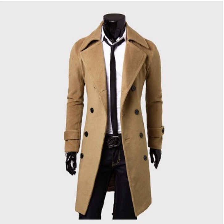 2015 New Fashion Double-breasted Winter Men Trench Coats Long Slim Fashion Styish woolen men trench for 3 colors!Free shipping(China (Mainland))