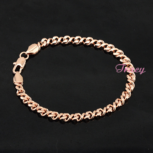 NEW Mens Womens Boys 18K Rose Solid Gold Filled Bracelet Link Chain Free Shipping Rose Jewelry
