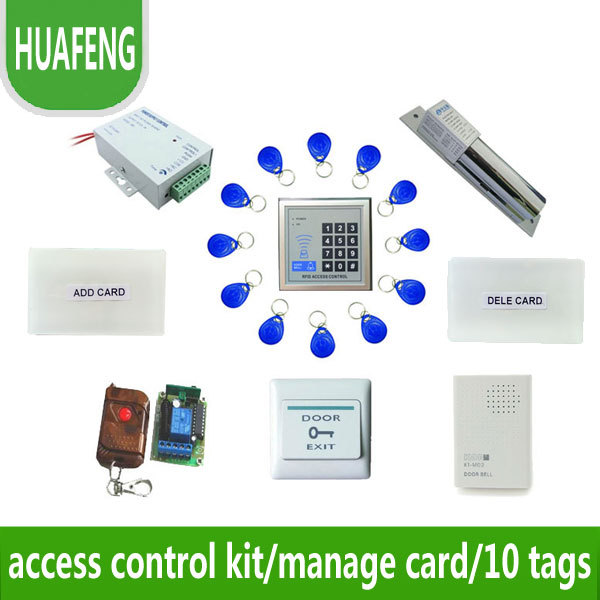 Access control kit,em/ ID keypad access control+ power+bolt lock +remote control +exit button +door bell +10 em cards,sn:em-001s<br><br>Aliexpress