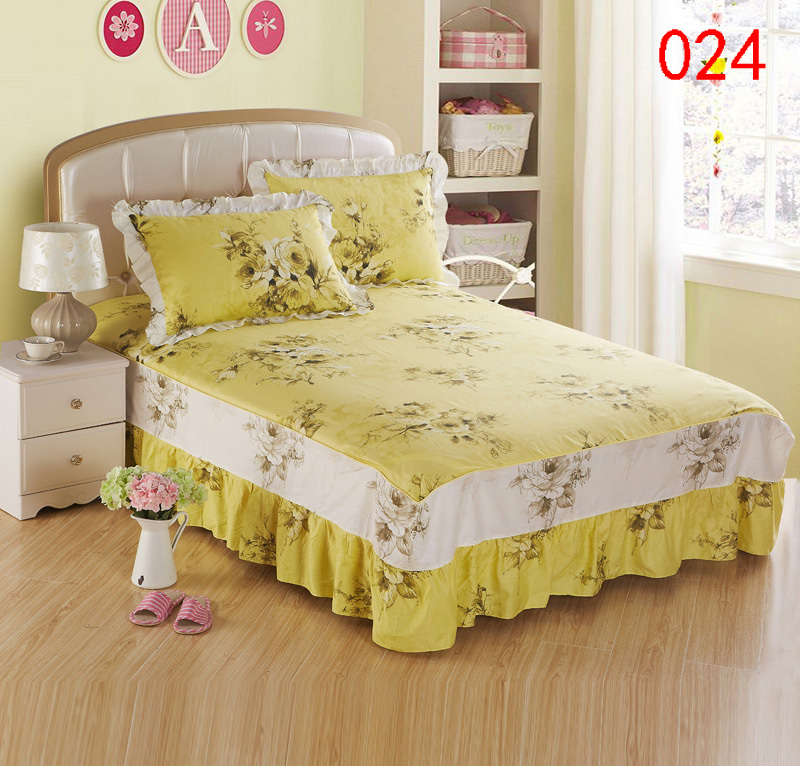 Yellow printing twin full queen king cotton bed skirts for Beds 120 x 200