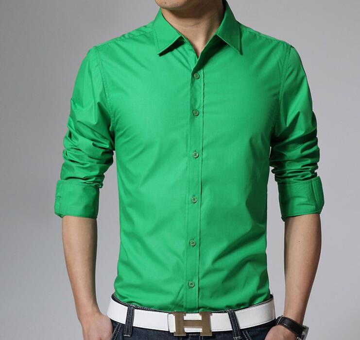 Mens Green Long Sleeve Dress Shirt images