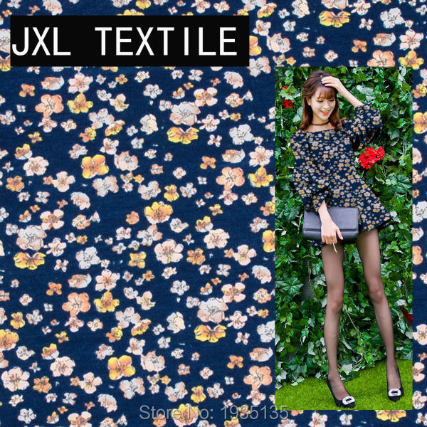 2016 small flower printed fashion garment jersey fabric for sewing pants dress skirt wholesale scarf 4 clor to choose 49E3603(China (Mainland))