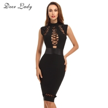 Buy NEW COLOURS !!!!2017 Black Bodycon Bandage Dress Club Womens Elegant Sexy Lace Bodycon Dress HL Rayon Bandage Dress High Neck for $19.83 in AliExpress store