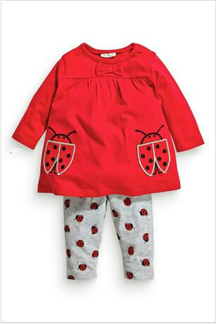 Autumn spring baby girl clothes long sleeve tops + beetle pants cartoon 2 pcs