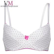Plus Size E F Push Up Demi Thin Cup Bra Deep Plunge POKA Dot Bow Decorated Lingerie BH Soft Brassiere Strappy Band Teen Bras