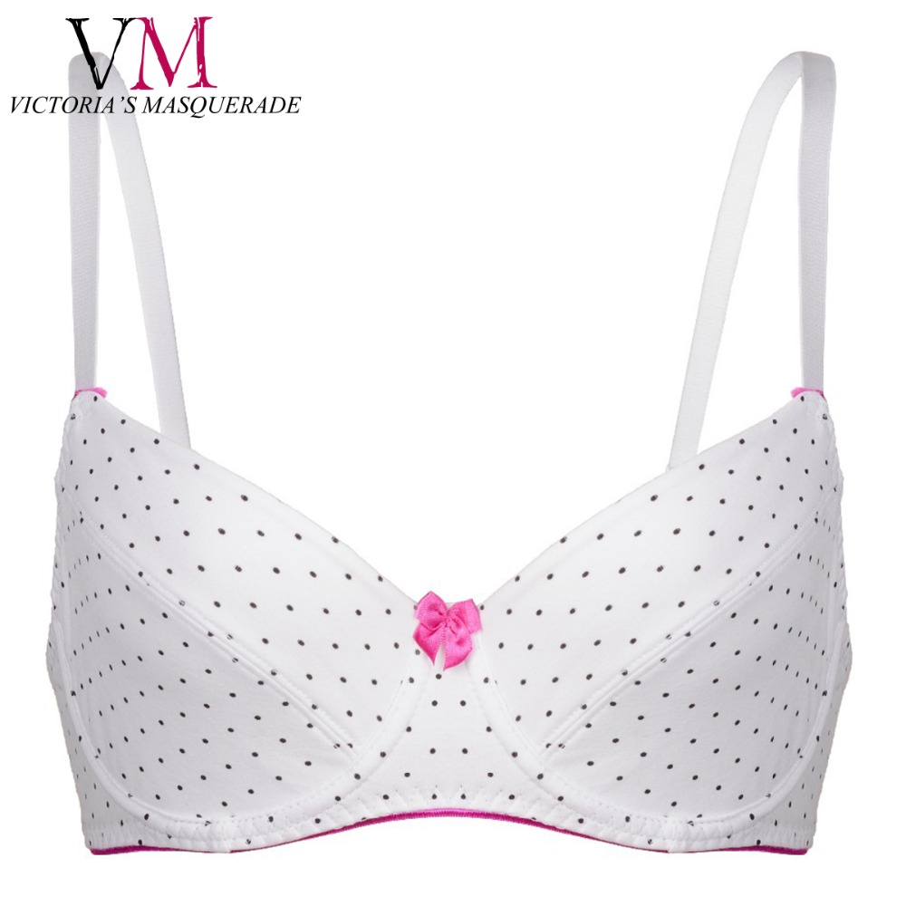 Plus Size E F Push Up Demi Thin Cup Bra Deep Plunge POKA Dot Bow Decorated Lingerie BH Soft Brassiere Strappy Band Teen Bras(China (Mainland))
